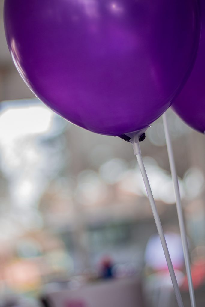 selective focus purple balloons